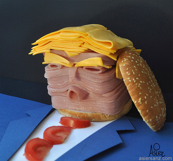 Donald Trump made in a shape of a burger