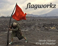 Kántor István with a red flag