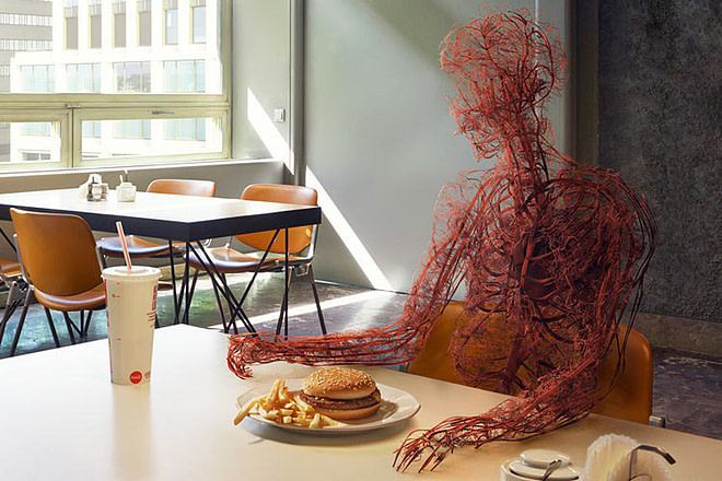 Human's cicualtory system in front of a burger and a coke