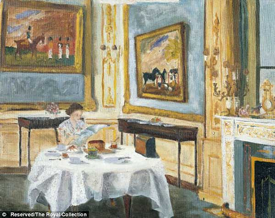 The Queen is shown at her breakfast table reading (one hopes) The Daily Mail  The Queen is shown at her breakfast table